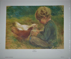 034-Poulets-034-by-Frances-Hook-Limited-Edition-Hand-Signed-Art-Print-1982-Boy-Chicks