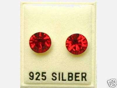 Neu 925 Silber Ohrstecker 8mm Swarovski Steine Light Siam/rot Ohrringe Mangelware