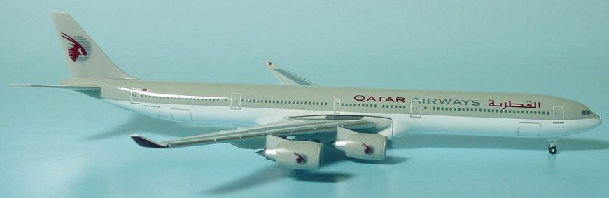 Herpa vinges 1 500 Qatar Airways flygbusss A340 -600 Old Livery id 514545 relsd 2005