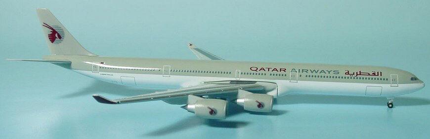 Herpa wings 1  500 qatar airways airbus a340 - 600 alte stall id 514545 relsd 2005