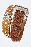 Men's Basket Weave Tooled Leather Belt Heavy Duty Western Rhinestones Concho Gun