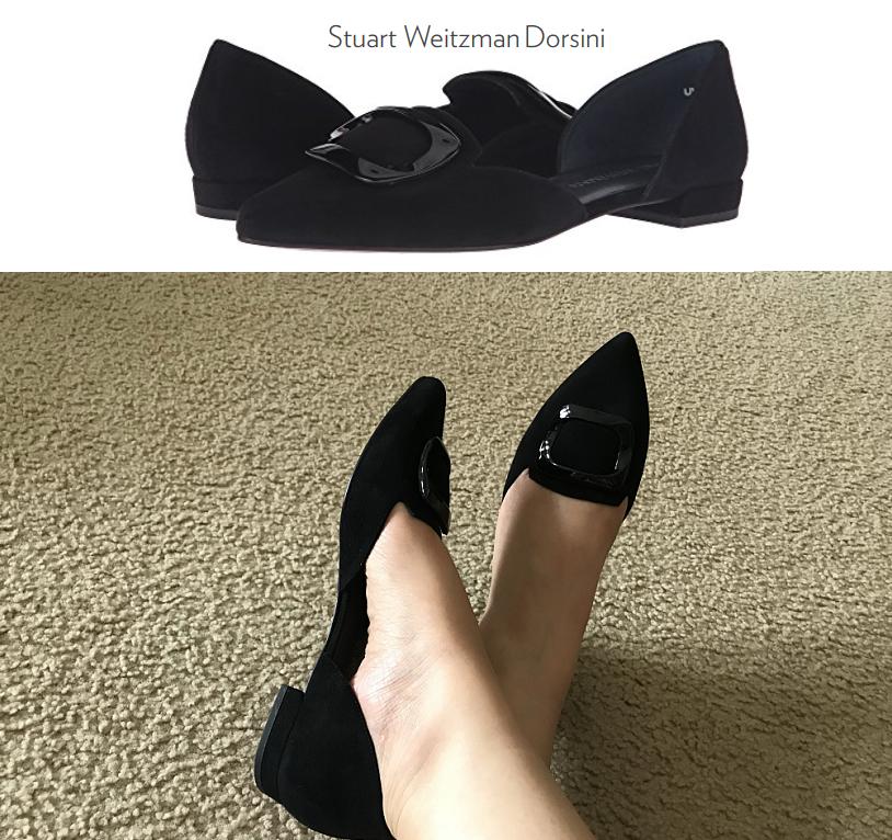 NIB Stuart Weitzman Dorsini black suede suede suede D'Orsay Flat Decorative buckle 8.5M e2a76e