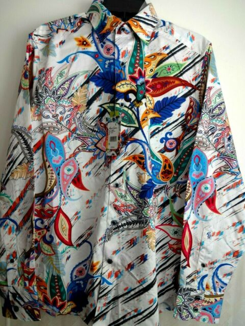 White Classic Fit Robert Graham Broken Tapes Graphic Print Knit T-Shirt