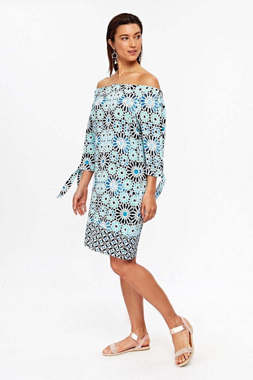 New Turquoise Tile Print Bardot Dress UK12 Euro40 Tags Day Dress Gift
