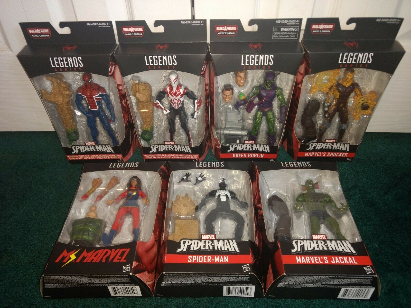 Marvel Legends Spider-Man Sandman BAF COMPLETE ALL MISP 2099 UK verde Goblin +