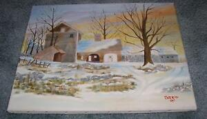 FOLK ART AMERICANA LANDSCAPE COUNTRY FARM HOUSE SNOW WINTER STONES OIL PAINTING