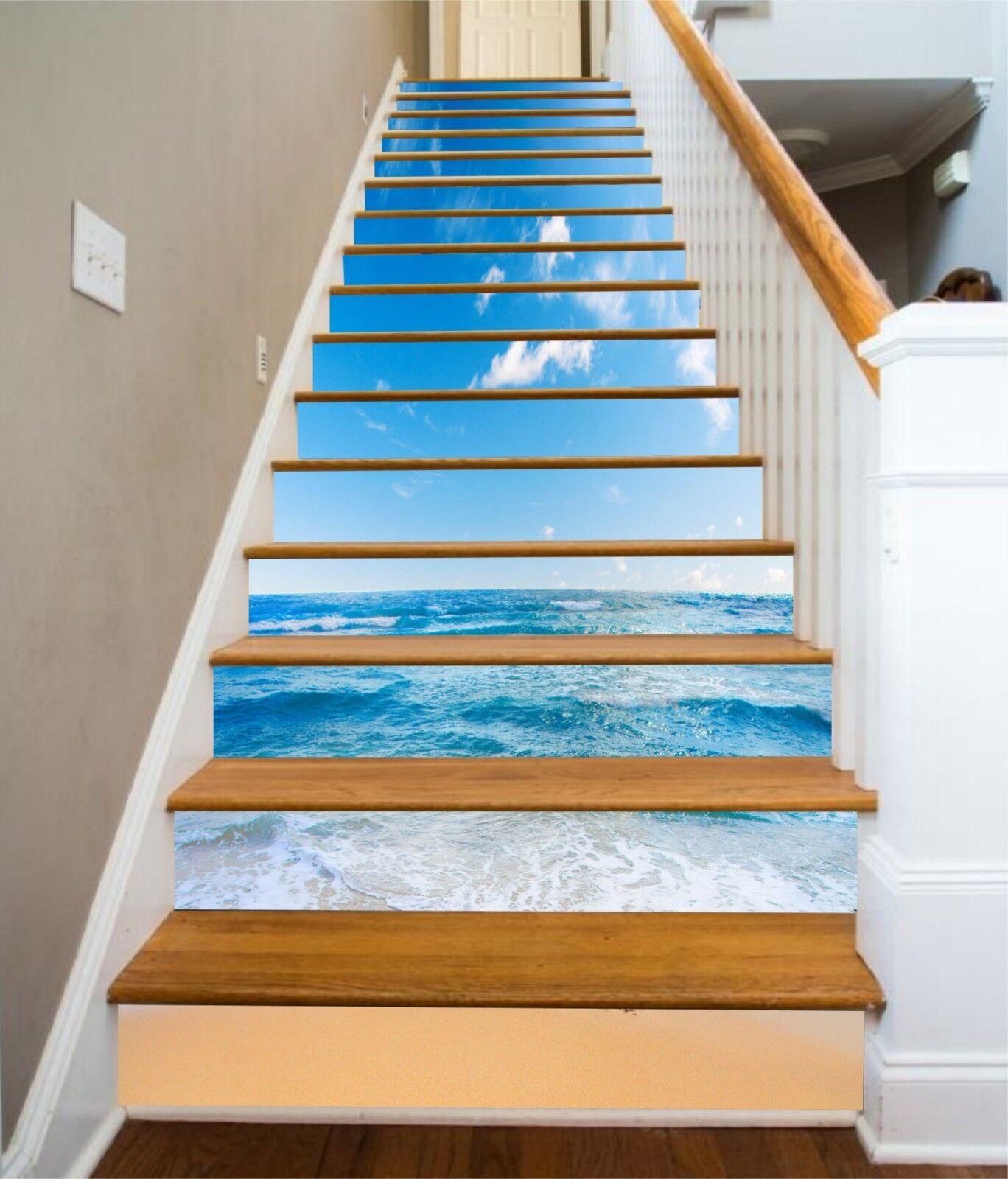 3D Bule Sky Sea Stair Risers Decoration Photo Mural Vinyl Decal Wallpaper US