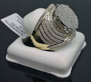 Vintage-10K-Yellow-Gold-Filled-White-Sapphire-Ring-Women-Men-039-s-Wedding-Jewelry