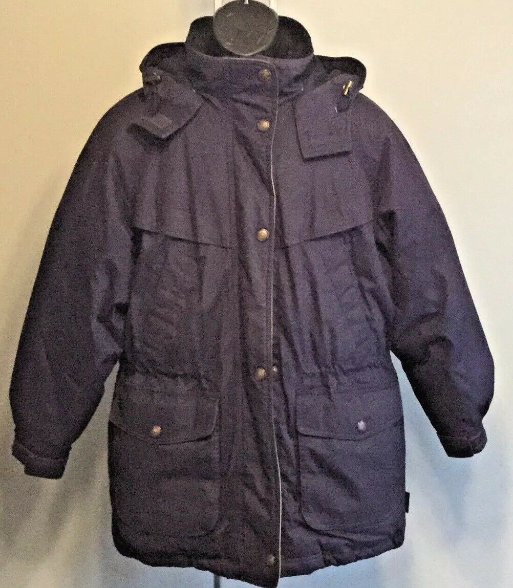 PACIFIC TRAIL Men's Size Medium Dark Purple Down Winter Parka With Lined Hood