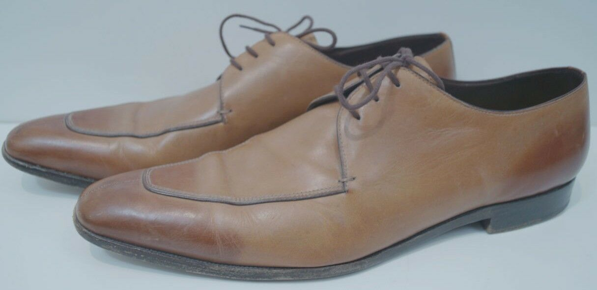 MIU MIU Menswear Tan Ombre Leather Lace Up Pointed Toe Formal shoes Sz 10