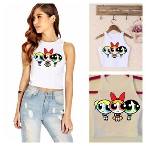 POWERPUFF-GIRLS-Cartoon-Crop-Tank-Top-T-Shirt-Tee-Cute-Sexy-Short-Harayuku-Cami