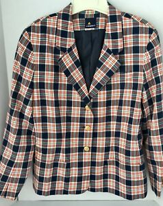 Blazer-Liz-Sport-Plaid-Lined-3-Button-Front-Sleeve-Jacket-Made-Size-10-Soft-Red