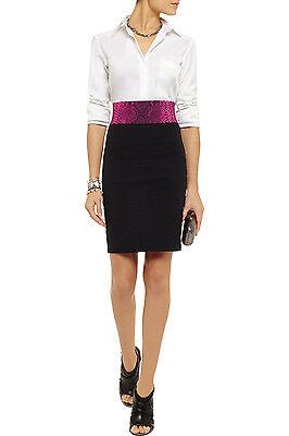CHRISTOPHER KANE stretch pink snake-jacquard snakeskin pencil skirt 4-us NEW