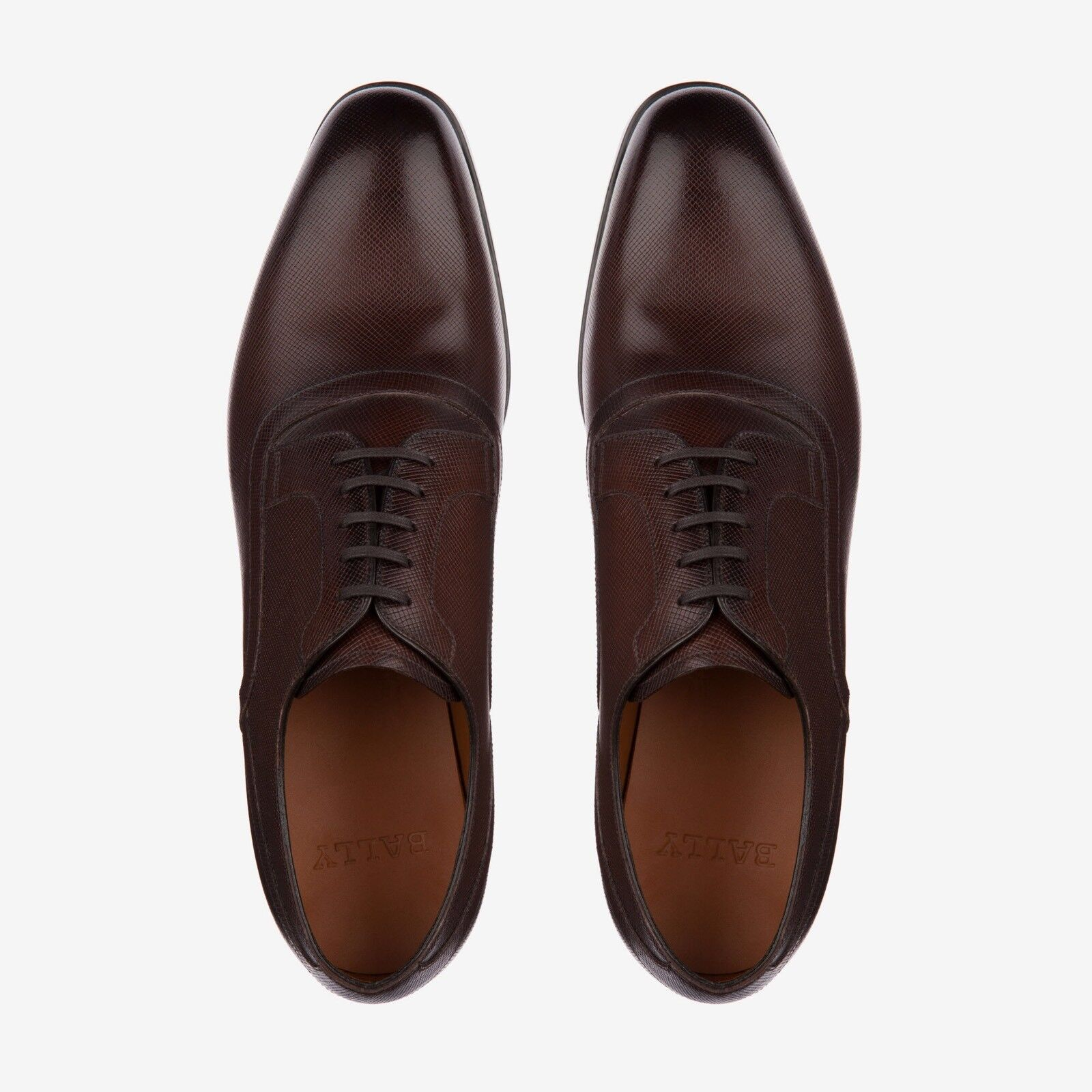 New In Box Bally 'Lauron' Brown Saffiano Saffiano Saffiano Pelle Derby Lace Ups 9EU/10US  595.00 00db16