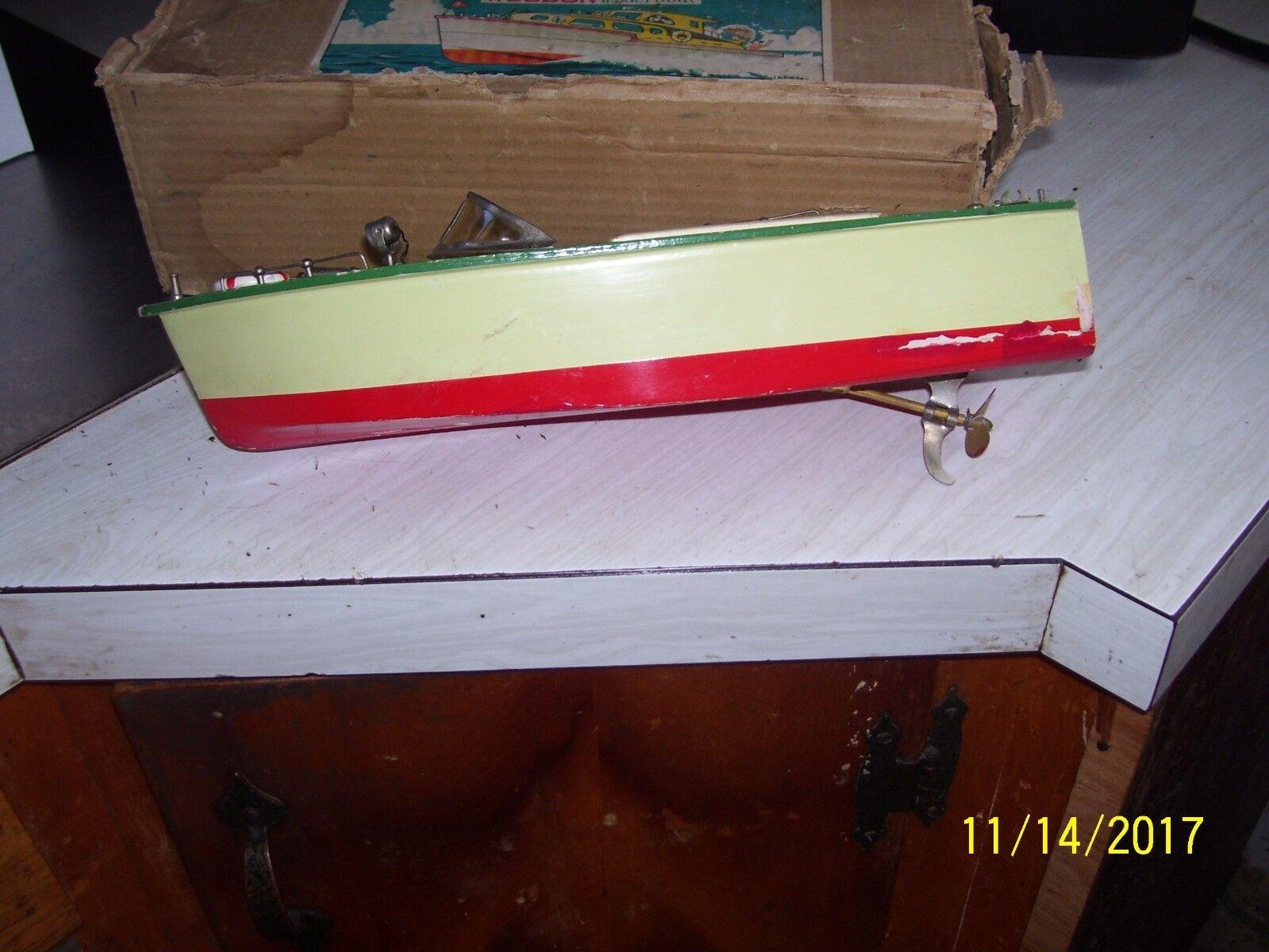 Vintage 12     Wood Speed Motor Boat W Box ed218e