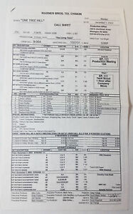 ONE-TREE-HILL-set-used-CALL-SHEET-plus-location-map-Season-1-Episode-10