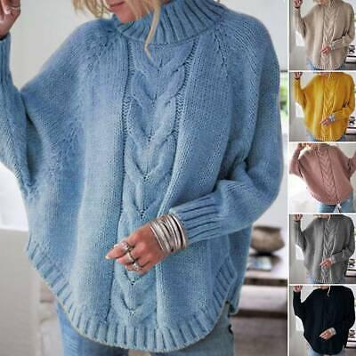 875 Damen Rollkragen Pullover Strickpullover Strick Pulli Sweater Langarm 3XL