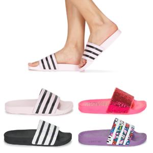 Détails sur Chaussons Femme Adidas Adilette W 3 Stripes Sandales Chaussures Noir Blanc Rose