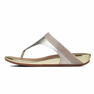 3651bc068f19 NEW WMNS FITFLOP BANDA MICRO-CRYSTAL TOE-POST LEATHER THONG SANDAL ...