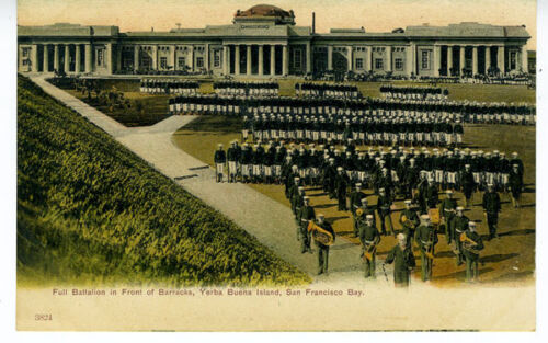 1905 Postcard Full Military Batallion near Barracks at Yuerba Buena Island CA