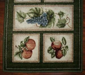 2x9 Runner Mat Rug Green Beige Washable Fruit Grapes Pears