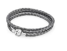 Discontinued Authentic Pandora Triple Leather/Silver Bracelet Grey - 590705CSG