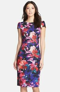 88439207 Image is loading Betsey-Johnson-Print-Stretch-Midi-Dress-size-2