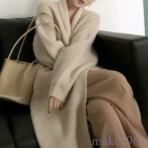 Womens-Cashmere-Wool-Blend-Knitted-Sweater-Cardigan-Outwear-Long-Coat-Spring-Hot