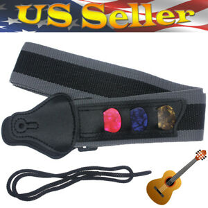 Hot-SALE-Guitar-Strap-Nylon-Holder-W-Three-Picks-For-Electric-Acoustic-Guitar