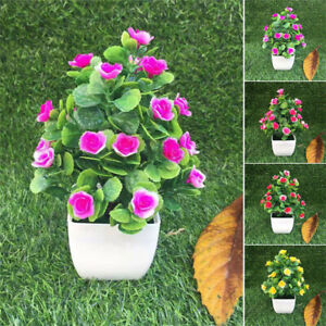 Artificial-Flowers-Plants-in-Pot-Fake-Home-Garden-Wedding-Party-Office-Decors