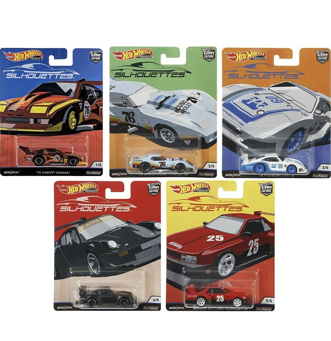 New 2019 Hot Wheels Car Culture Silhouttes 1 64 Diecast Model Cars Lot Of 5