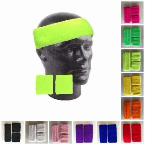 Set of Sports Sweatbands Wristband Headband Tennis Gym Yoga Neon Fluro 80s