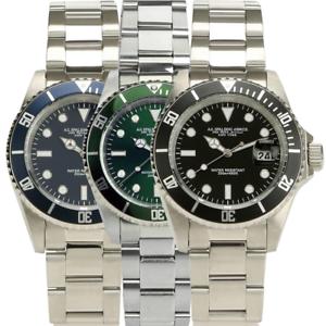 Orologio-Spalding-amp-Bros-Blu-Nero-Verde-Diver-Uomo-Water-Resistant-20-atm-acciai