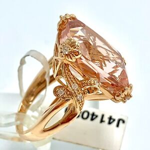 14K Morganite & Diamond Rose Gold Ring Emerald Cut Size 6.75 by Chuck Clemency