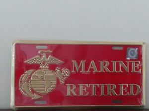 U.S Marine Veteran with EGA Emblem in Gold On Red Embossed Metal License Plate