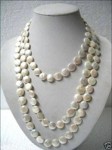"""Beautiful 11-13mm White Coin Pearl 60/"""" Long Necklace"""