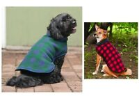 Plaid Fleece Blanket Coat For Dog - Xs - Xl - Blue - Red - Keep Warm - Reversibl