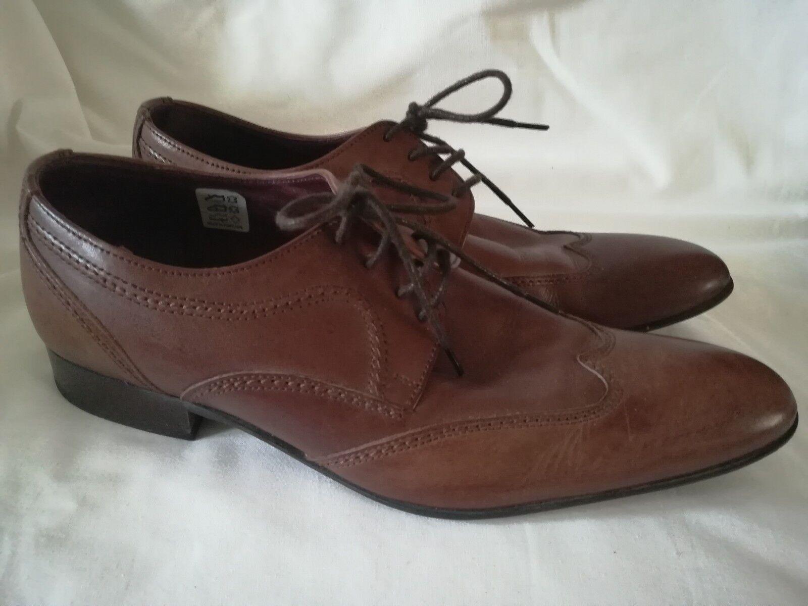 Men's Jones Bootmaker Brown Leather Smart Brogue Oxford shoes Size