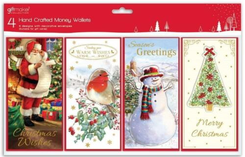 4 Pack Christmas Money Wallets Various Traditional Designs Xmas Tree Robin