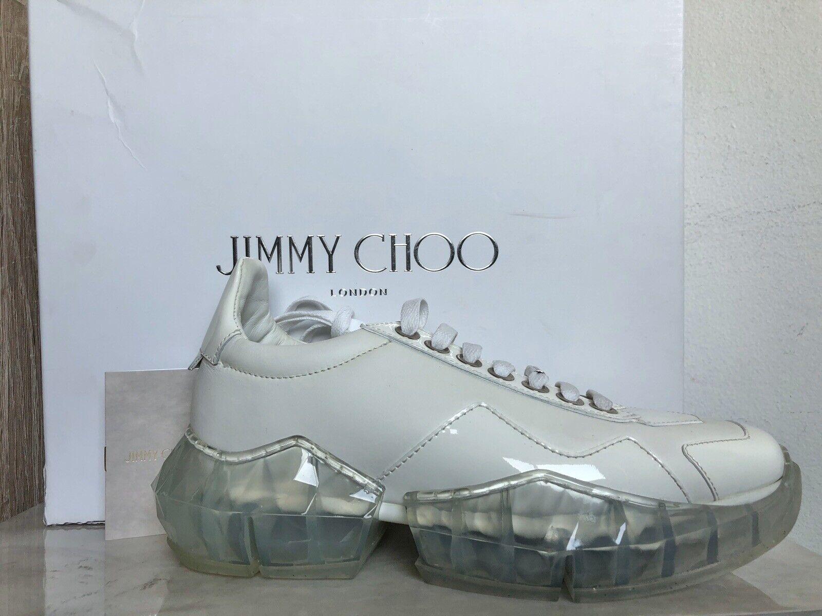 Jimmy Choo Chunky Patent-Trimmed Leather Diamond Turnschuhe IT 38   8