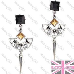 Image Is Loading Art Deco Silver Gold Fashion Chandelier Earrings Black