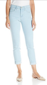 NYDJ Not Your Daughters Jeans Nichelle roll cuff ANKLE pants lt Sky bluee 10 14
