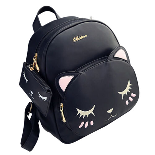New Ladies Small Cute Cat Soft Leather Backpack Shoulder Bag School Travel Bags