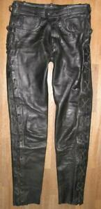 034-INDIAN-ANGEL-034-SCHNUR-LEDERJEANS-Biker-Lederhose-in-schwarz-ca-W33-034-L34-034