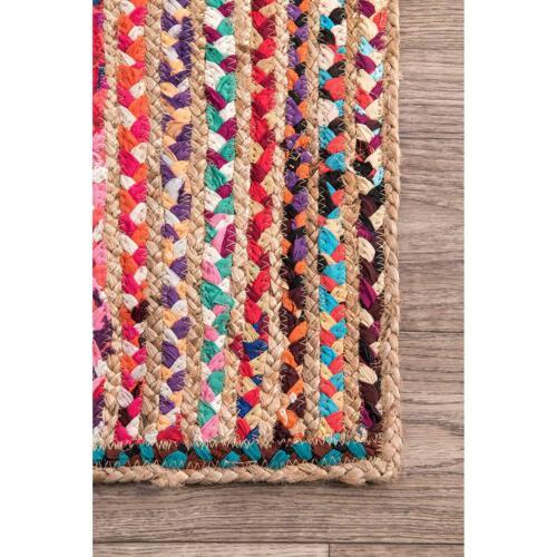 Braided Rug Handmade Reversible Jute /& Cotton Multi Chindi Carpet 90X240 cm