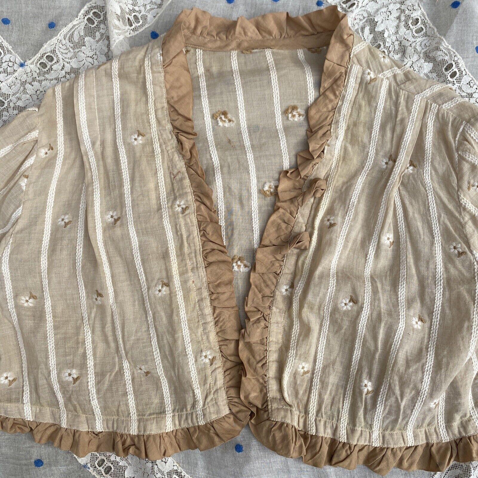 Antique Edwardian Ecru Cotton Blouse Top Embroide… - image 4