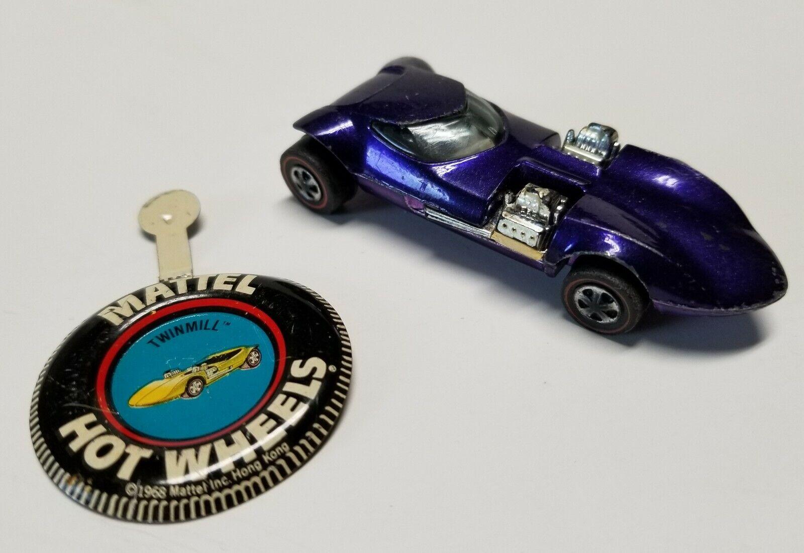 Vintage Hot Wheels Purple Redline 1968 Twinmill Diecast Car & Badge Mattel Toy