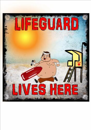 Lifeguard Dude Lives Here Sign Wall Plaque Vintage Style Metal Sign Wall Plaque