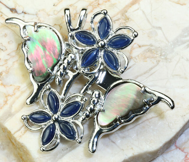 UNIQUE RAINBOW MOTHER OF PEARL WGP* PIN/PENDANT - 2 INCHES