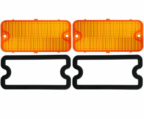 1967-1968 Chevy Truck Parking Light Lenses With Gaskets Pair 2 Amber Lens